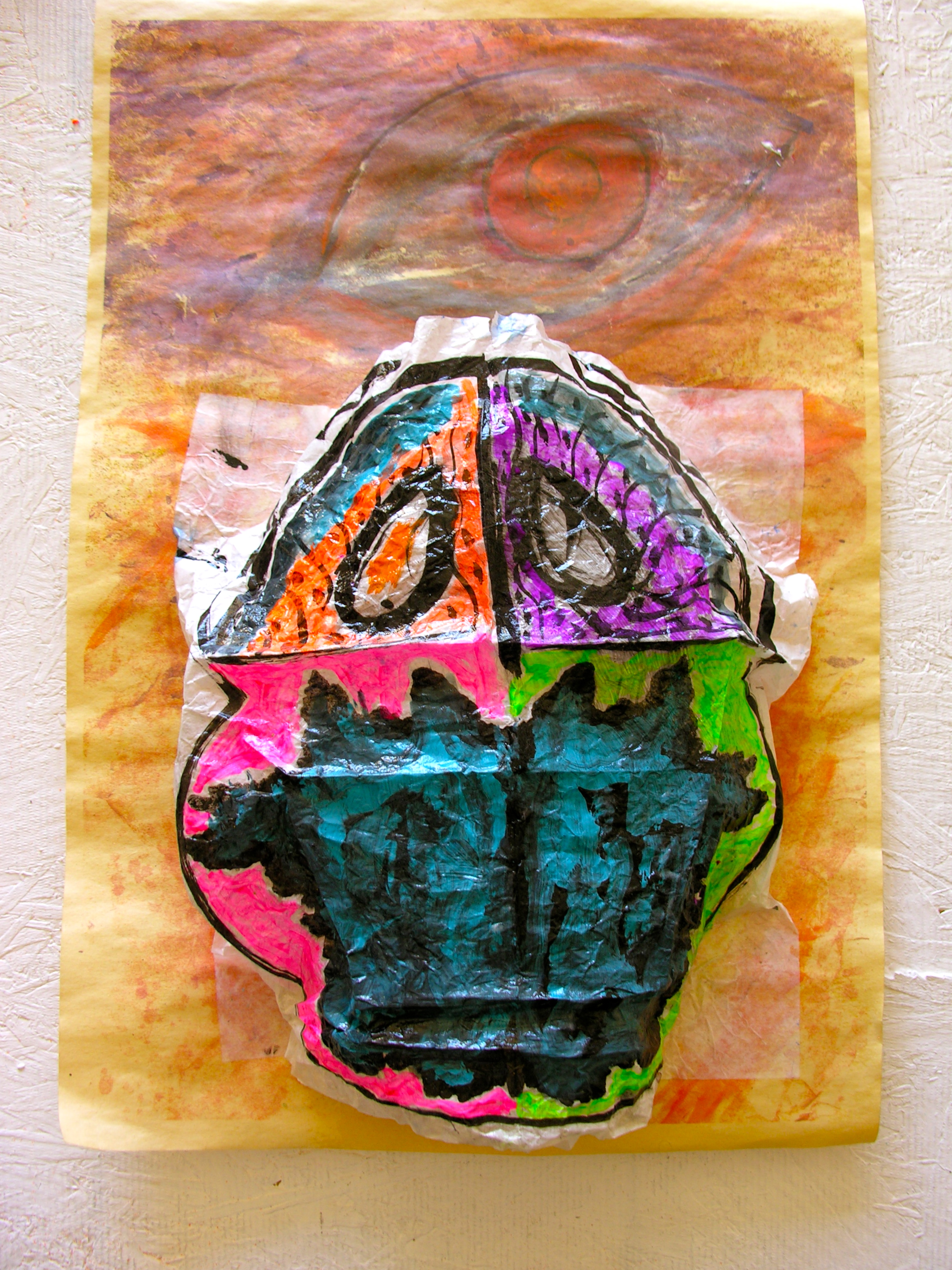 "Scarab beetle rising from, come into being itself,"" Bas relief sculpture Sandwich Wrapping Paper, Painted, Folded and Mounted, Mix Media. 12 x 17 inches Milan Paper, Under Drawing,"