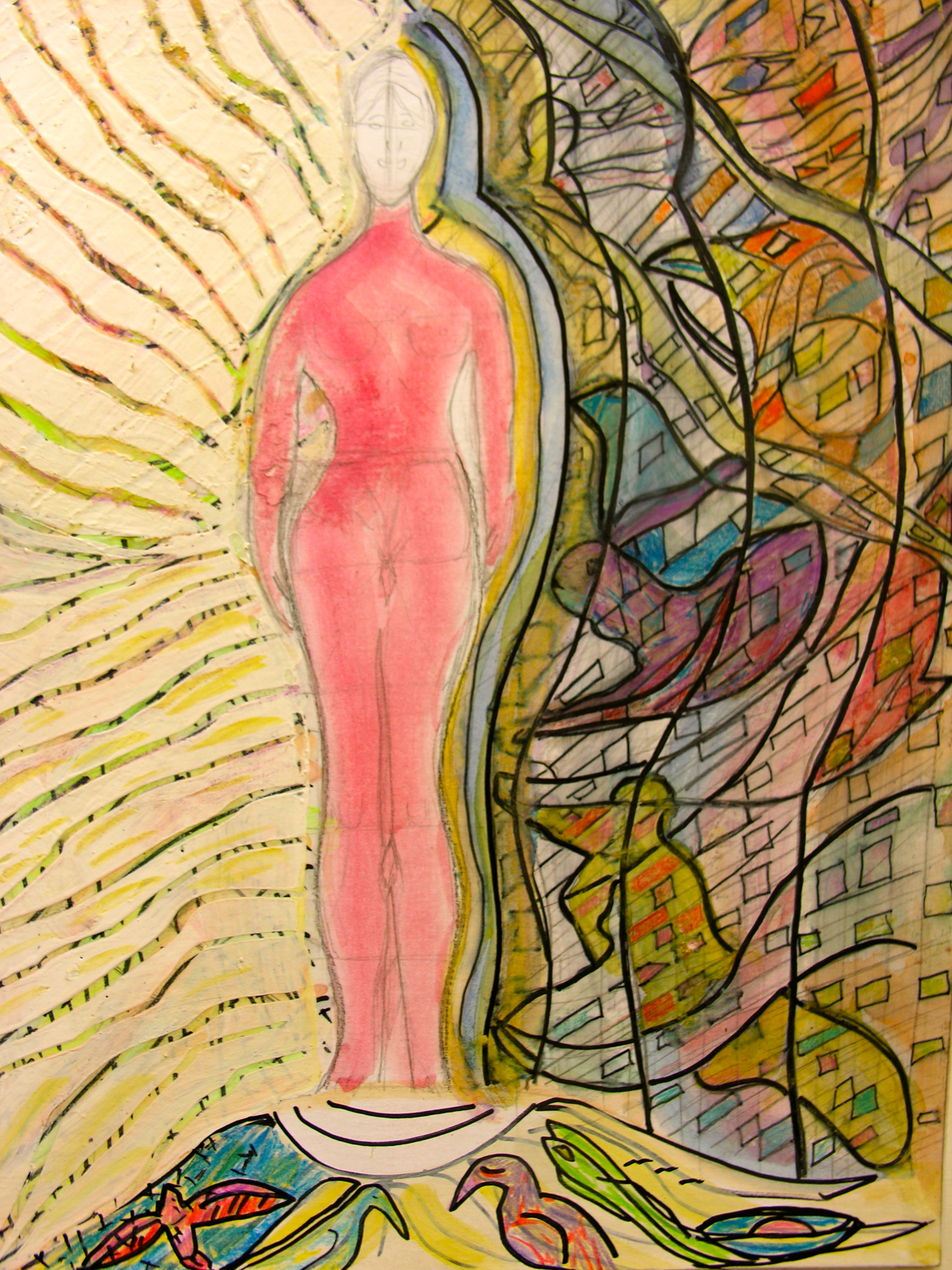 Shapeshifter Women: Mix Media, 14 x 18 inches, Acrylic paint, Black Ink , Mix the ability of an entity to physically transform into another being or form., Art Board,