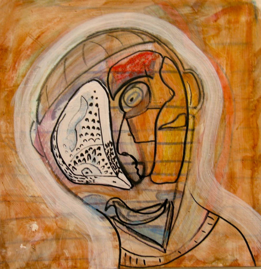 Double Take, Mixed Media, 10 1/2 x 10 1/2/ inches, Acrylic paint, Black Ink, Art Board,